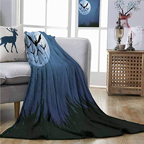 Homrkey Warm Microfiber All Season Blanket Halloween A Cloud of Bats Flying Through The Night with a Full Moon Fall Season Plush Throw W54 xL72 Night Blue Black Grey -