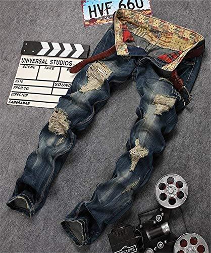 Colour Moda Hombres Los Pantalones Destruidas Motorista Hendiduras Usalook 928 Pierna Vaqueros La Ajustados Piernas Mezclilla De Del RxqxTXa