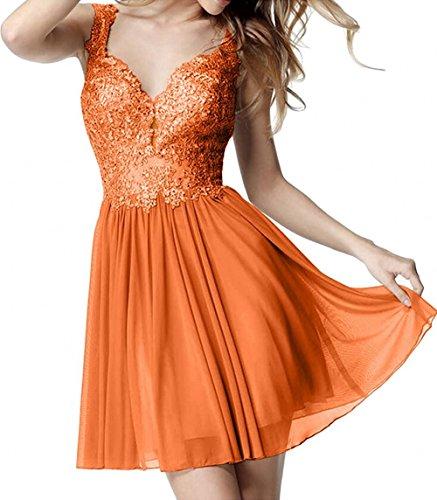 La Marie Cocktailkleider Kurz Braut Abendkleider Ausschnitt Neuheit Orange V Chiffon Partykleider Spitze Ballkleider 1fqw1SrxAn
