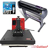 USCutter 28'' Vinyl Cutter + 15'' x 15'' Digital Heat Press Machine Signs/T-shirt Making