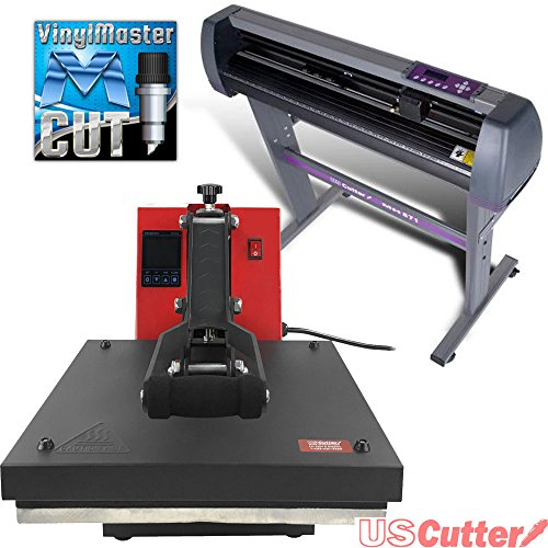USCutter 28'' Vinyl Cutter + 15'' x 15'' Digital Heat Press Machine Signs/T-shirt Making by USCutter