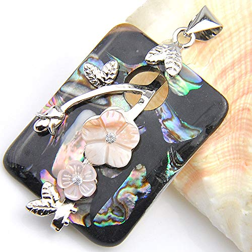 (Gorgeous Shiny Handmade Abalone Shell Carved Shell Gems Silver Necklace Pendants)