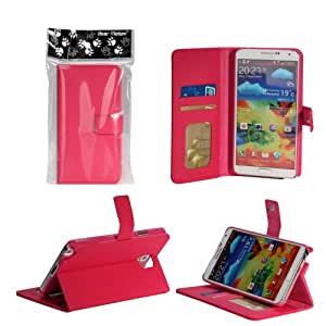 Bear Motion Premium Folio Case for Samsung Galaxy Note 2 Note II N7100 with Snap Button Closure (no magnet anywhere) - (Hot Pink)