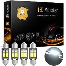 LED Monster 4-Pack Super Bright White 6SMD Canbus Error Free 36MM LED Festoon Bulbs 2835 Chipset for Car Interior License Plate Dome Courtesy Lights 6411 6418 C5W 1.50 6000K Xenon White