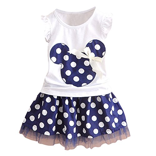 Cute Toddler Baby Girls Clothes Sets Polka Dot T-Shirt and Skirt Summer Outfits (White+Navy, -