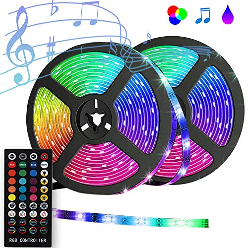 LED Strip Lights, Sync to Music 32.8ft/10m Waterproof RGB LED Light Strips Flexible 5050 Neon Lights 300LEDs Rope Lights with 40 Key Remote for Room, Bedroom, TV, Party, UL Listed Power 12V 6A