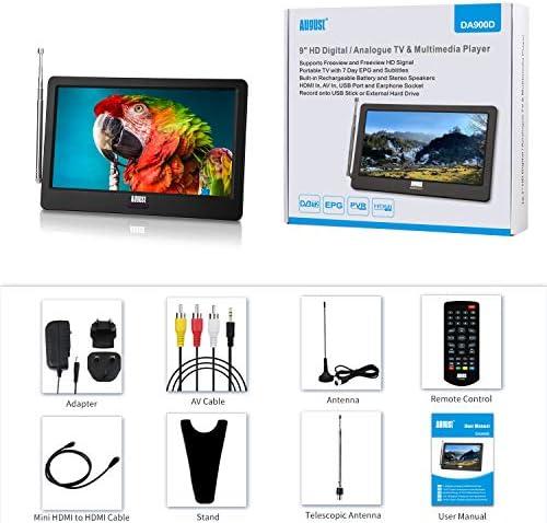 9 Pulgadas TV Portátil - August DA900D Televisor Digital DVB-T-T2 /HEVC H.265 Pantalla LCD Pequeña TV Analógica con Puerto AV/ HDMI /USB 1800 mAh Baterías Recargables para Cámara/ Cocina/ Caravana: Amazon.es: Electrónica
