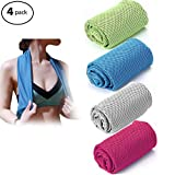 W-ShiG 4 Pack Cooling Towel,Super Absorbent Cooling Towel for Sports,Workout,Fitness,Gym,Yoga,Pilates,Travel,Camping