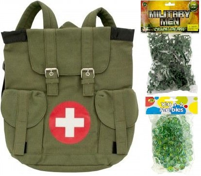 Military Children's Play Set - Military Army Men Combat Figurine Set, Body Rage Olive-Green Canvas Medic-Themed Cross Deluxe 13
