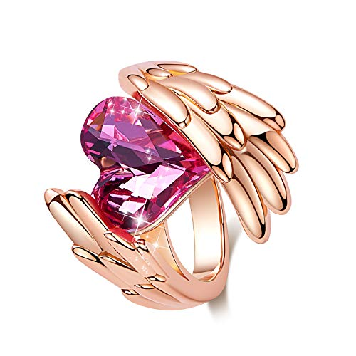 (CDE ''Pink Angel Rose Gold Plated Wing Rings for Women Heart Shape Embellished with Crystals from Swarovski Rings, Fashion Jewelry Gift for Mother Day )
