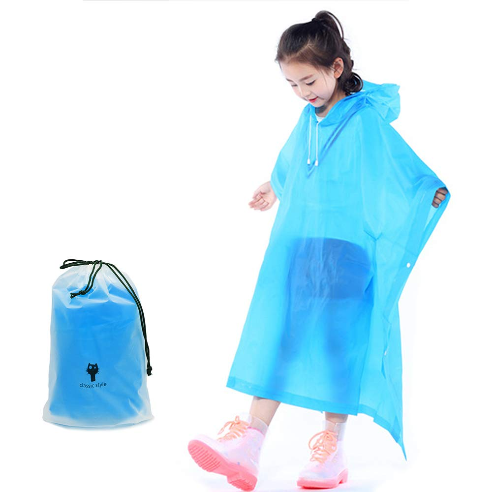 MarsGlider Reusable Rain Ponchos for Kids Children Boy Girl with Hood and Carrying Bag
