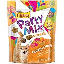 Friskies Party Mix Cat Treats, Cheezy Craze Crunch, Cheddar, Swiss & Monterey Jack Flavors, 6-Ounce Pouch, Pack of 7