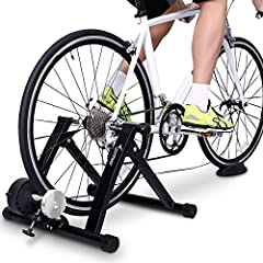 No more rainy day excuses. Take the velodrome into your living room with the Indoor Bike Trainer by Sportneer -a cyclical support that allows you to build up a burn regardless of the weather. With a wide base, 5 adjustable rubber feet, and sw...