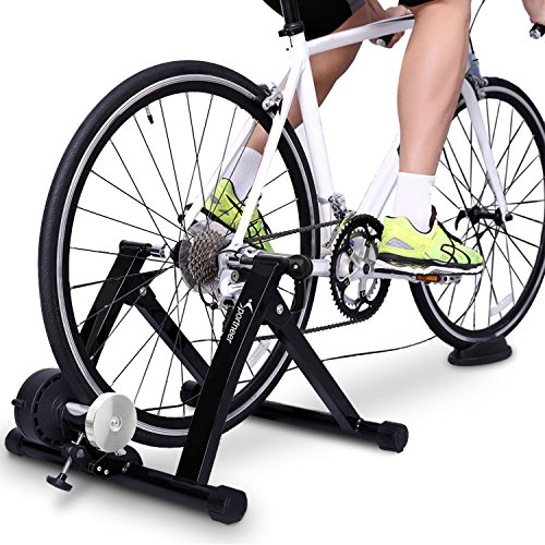 (Sportneer Bike Trainer Stand Steel Bicycle Exercise Magnetic Stand with Noise Reduction Wheel, Black)