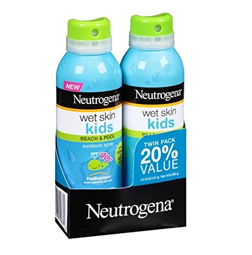 Neutrogena WET Skin Kids Beach & Pool Sunscreen Broad Spectrum Spf 70+, 5 Ounce Spray (2 Pack) by Neutrogena