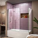 DreamLine Aqua Fold 56-60 in. Width, Frameless Hinged Tub Door, 1/4'' Glass, Chrome Finish