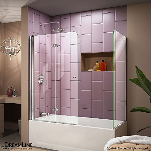 DreamLine Aqua Fold 56-60 in. Width, Frameless Hinged Tub Door, 1/4' Glass, Chrome Finish