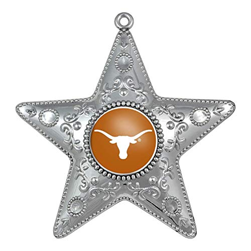 - NCAA Texas Longhorns Silver Star Ornament, Small, Silver
