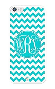 MMZ DIY PHONE CASEiZERCASE Monogram Personalized Turquoise Chevron Pattern iphone 5/5s Case - Fits iphone 5/5s T-Mobile, AT&T, Sprint, Verizon and International (White)