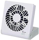ドウシシャ 3電源(AC,USB,乾電池) 10cm コンパクトデスク扇風機 風量2段切替機能付 ホワイト NPM-1081U(WH)