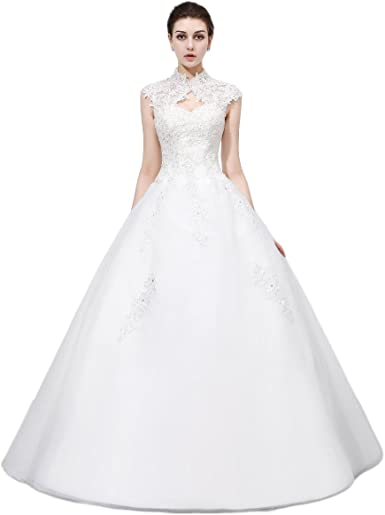 OYISHA Womens Strapless Beaded Wedding Dress for Bride Ball Gown Floor Length WD011
