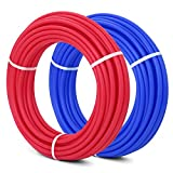 VEVOR PEX Tubing 1/2 Inch 100ft 2 Rolls Non Oxygen Barrier PEX Tubing Red and Blue Radiant Heat Pex Piping Kit for Residential and Commercial Potable Water Applications