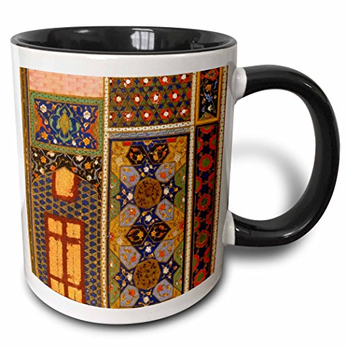 3dRose mug_162526_4 ''Arabian Multicolor Abstract Pattern Turkish Moroccan Islamic Muslim vintage Art Two Tone black'' Mug, 11 oz, Black/White by 3dRose