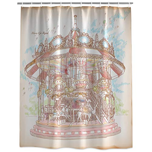 (HomeCreator Shower Curtain Bathroom Decor Hand-Painted Carousel Water, Soap and Mildew Resistant Curtains Sets with Hooks 72