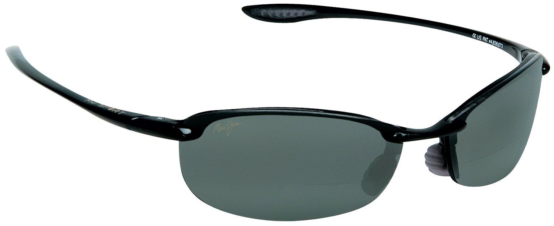 Maui Jim Makaha Bifocal Sun Reader Designer Reading Glasses, Black / Grey Lens, +1.50