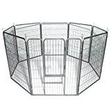40'' Tall Dog Pet Playpen Heavy Duty Metal Exercise Fence Hammigrid 8 Panel Silver (40'')