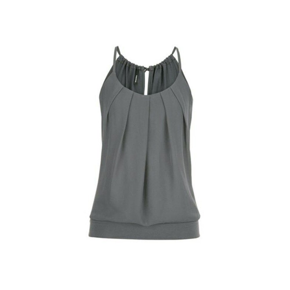 Plus Size Women Summer Tank Top Loose Wrinkled Racerback Casual Round Neck Sleeveless Tops Vest Blouse Shirt by Dainzuy Gray