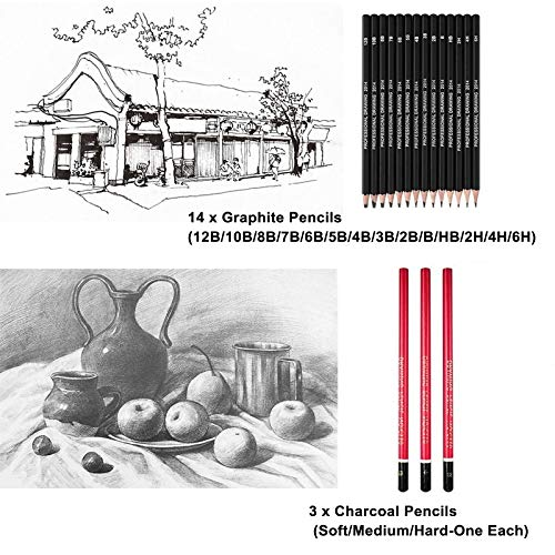 26 Pieces Sketch & Drawing Art Supplies Set, Drawing Pencils and Sketching Tools Kit, Graphite Charcoal Professional Pencils Set,Great Gift for Kids Adults (Brown)