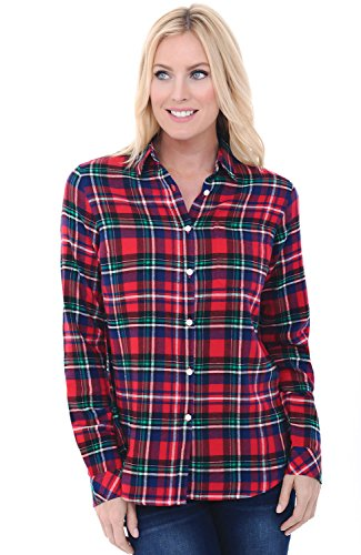 Alexander Del Rossa Womens Flannel Shirt, Button-Down Cotton Boyfriend Top, Large Red and Green Plaid (A0710Q19LG)