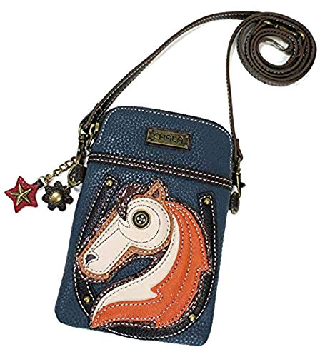 - Chala Crossbody Cell Phone Purse - Women PU Leather Multicolor Handbag with Adjustable Strap - Horse - Navy