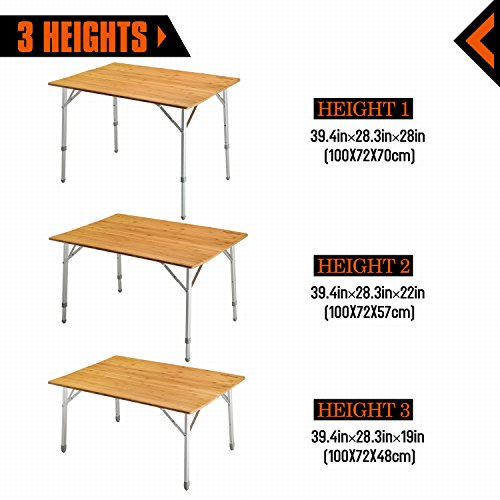 KingCamp Aluminum Frame 3 Heights 4 Person / 6 Person Folding Bamboo Table
