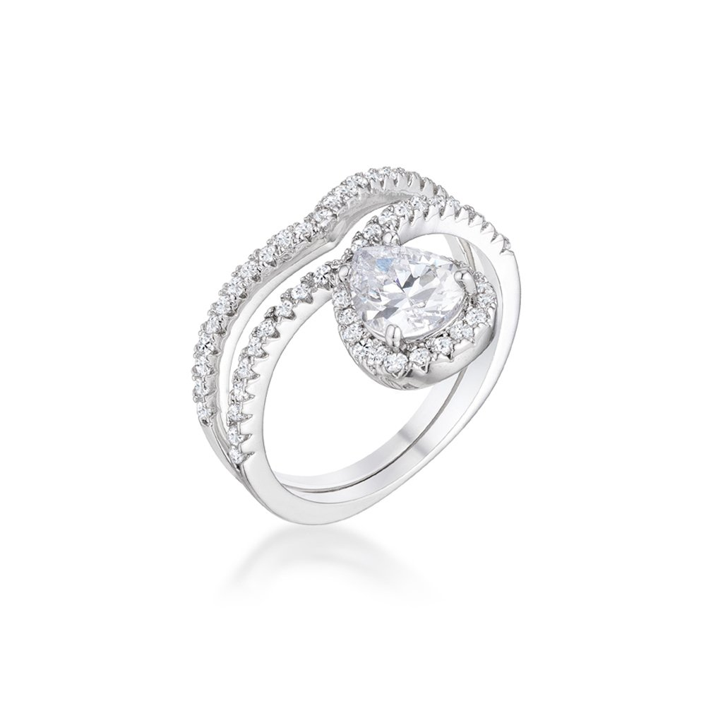 Belle Cherie Princess Teardrop Pear Shaped Chevron Crown Simulated Diamond Stackable Ring Set