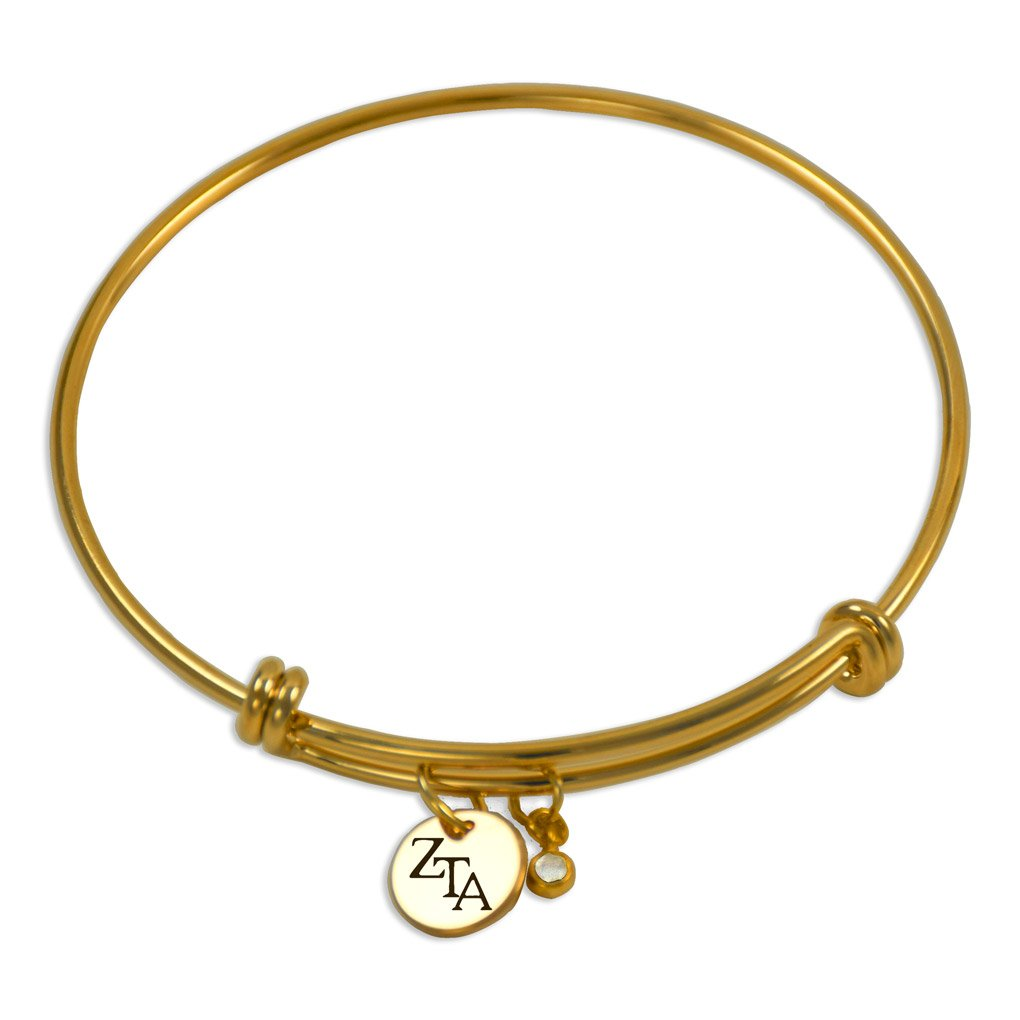 A-List Greek Zeta Tau Alpha Sorority Single Coin CZ Bangle