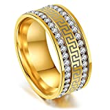 JAJAFOOK Women's Retro Golden and Silvery Stainless Steel Ring Rhinestone Ring for Gift (Size 6-11)