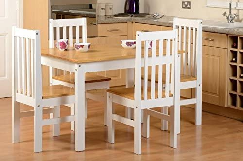 one stop furniture online Wood Dining Table 4 Chairs In Natural Oak//White