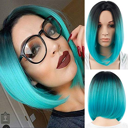 Blue Wigs for White Women Short Straight Bob Hair Wigs Black Rooted Heat Resistant Synthetic Full Wigs for Party Daily Use (Blue) DX026]()