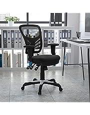 Flash Furniture Kontorsstol med medelhögt ryggstöd – ergonomisk skrivbordsstol med justerbara armstöd och nät – perfekt för hemmakontor eller kontor – svart