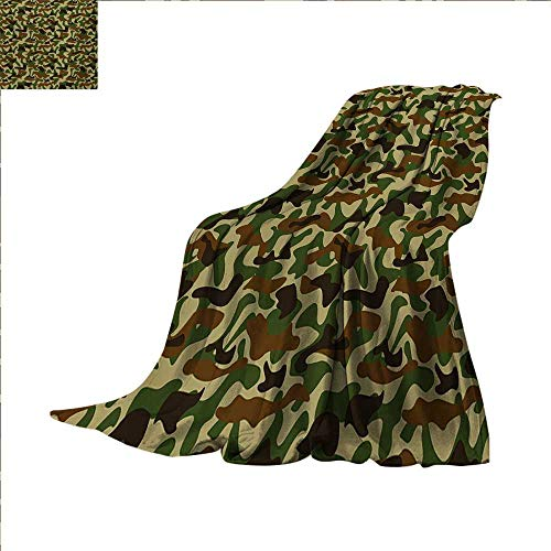 (Camouflage Warm Microfiber All Season Blanket Squad Uniform Design with Vivid Color Scheme Hunting Camouflage Pattern Print Artwork Image 60 x 36 inch Green Brown)