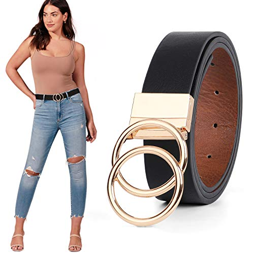 WERFORU Damen Ledergürtel, Wendegürtel, Leder Taillengürtel für Jeans Kleid mit Gold Double O Ring Rotate Schnalle