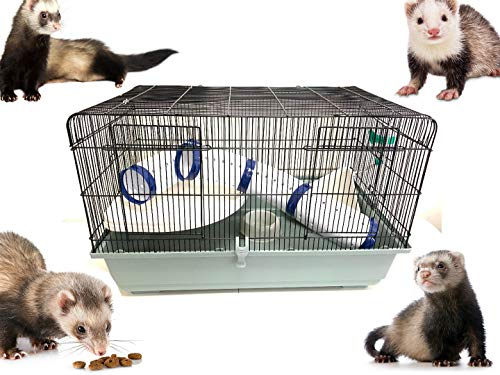 Mcage Large 31″ Ferret Series Cage Small Animal Home House with Extra Wide Playing Tunnel Tube, Large Platform, Rest Basket,Deep Base, Water Battle and Food Bowl