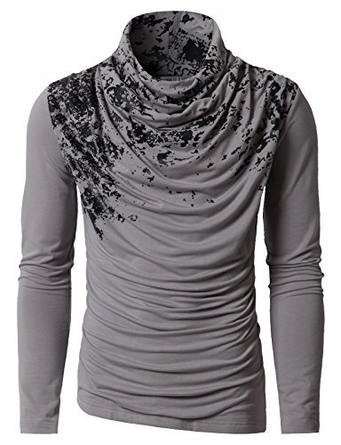 H2h Mens Unique Slim Fit Fashionable Designed Shirring Long Sleeve T