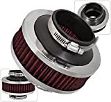 """Universal 3"""" 76mm Jdm Cold Air Intake Induction High Flow Bypass Valve Filter Racing Performance Red"""
