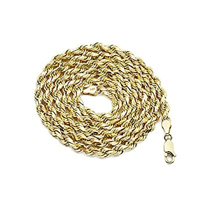 LOVEBLING 14K Yellow Gold 5mm Solid Diamond Cut Rope Chain Necklace with Lobster Lock by LOVEBLING