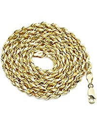 Mens necklaces amazon 14k yellow gold 5mm solid diamond cut rope chain necklace with lobster lock aloadofball Gallery