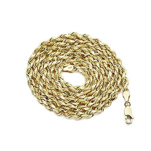 LOVEBLING 14K Yellow Gold 5mm Diamond Cut Rope Chain Necklace, Mens Womens with Lobster Lock (24) ()