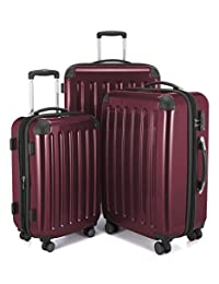 HAUPTSTADTKOFFER Alex Double Wheel Luggage Set 18 different colors Suitcase Set Size (20'24'28') Trolley TSA Burgundy